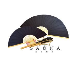 Finnsa Sauna-Fächer XL, (zusammengeklappt 90cm, aufgeklappt 150cm), SCHWARZ