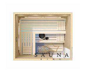 SAUNA KING finnszauna 3-4 főre cirbolyafenyőből, 200x160cm