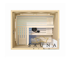SAUNA KING finnszauna 3-4 főre öregfából, 200x160cm