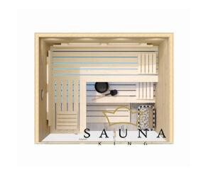 SAUNA KING finnszauna 3-4 főre cédrusból, teljes üvegfronttal, 200x160cm