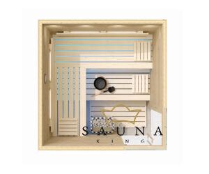 SAUNA KING finnszauna 4-5 főre cirbolyafenyőből, 200x200cm