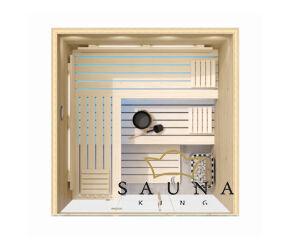 SAUNA KING finnszauna 4-5 főre cirbolyafenyőből, teljes üvegfronttal, 200x200cm