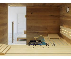SAUNA KING finnszauna 3-4 főre repedezett tölgyfa saunaboard-ból, 200x160cm