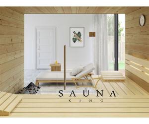 SAUNA KING finnszauna 3-4 főre cirbolyafenyőből, teljes üvegfronttal, 200x160cm