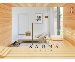SAUNA KING finnszauna 3-4 főre hemlockból, teljes üvegfronttal, 200x160cm