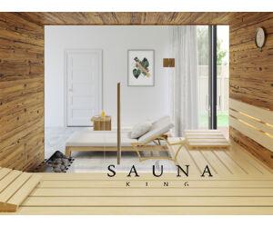SAUNA KING finnszauna 3-4 főre öregfából, teljes üvegfronttal, 200x160cm