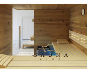 SAUNA KING finnszauna 4-5 főre repedezett tölgyfa saunaboard-ból, 200x200cm