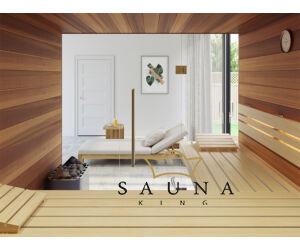 SAUNA KING finnszauna 4-5 főre cédrusból, teljes üvegfronttal, 200x200cm