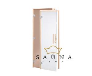 Saunatür VI. Klar (Breite: 680mm) mit Fichtenrahme (Stärke: 40mm)