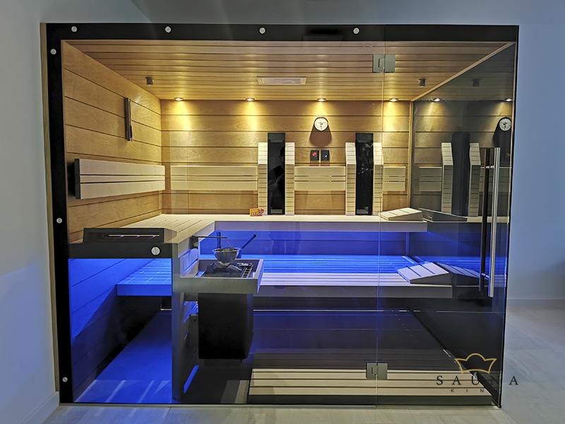 SAUNA KING 3in1 Thermo Espe Sauna mit 2 Glasseiten, 250x200cm