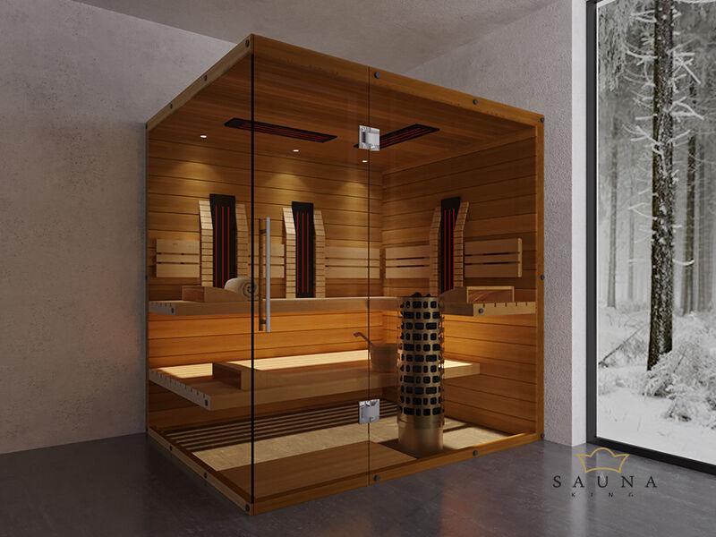 SAUNA KING Finn+Infra kombinierte Sauna Teneriffa für 3-4 Personen