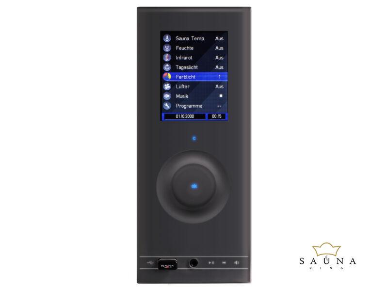 Sentiotec Kombi szaunavezérlő Wave.com4 Touch 3. (Finn+Bi-O+Infra) Sötét érzékelővel