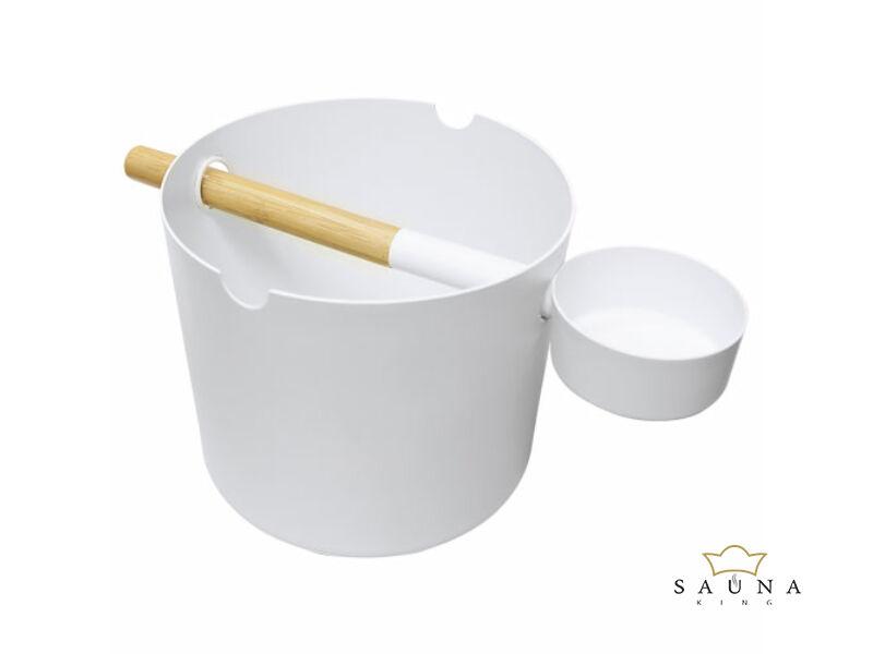 Szauna dézsa fehér alumíniumból hozzá passzoló szaunakanállal