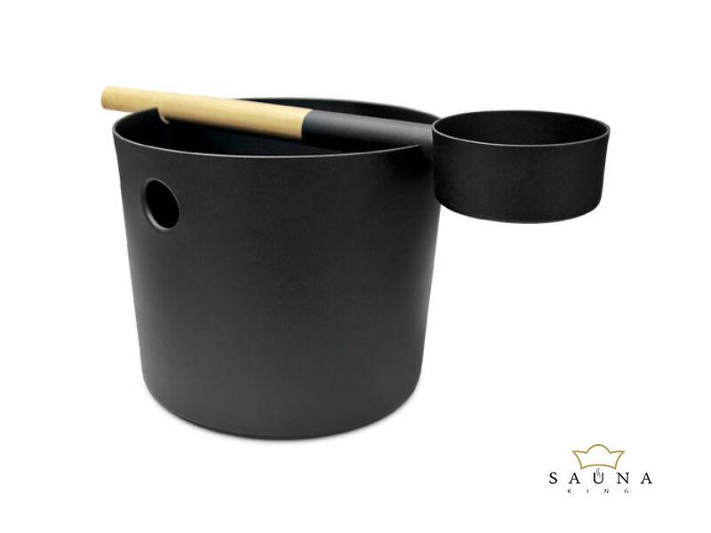Szauna dézsa fekete alumíniumból hozzá passzoló szaunakanállal