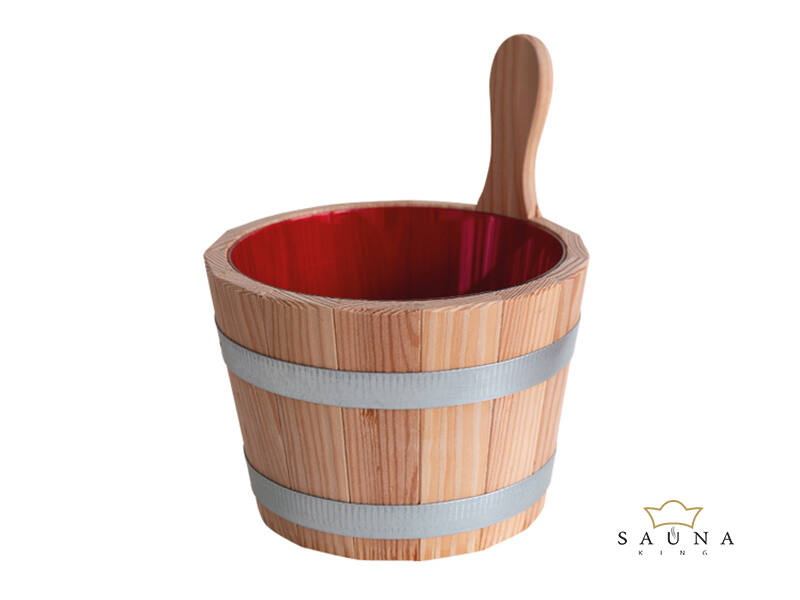 Sauna-Kübel Lärche Natur, mit Kunststoff-Einsatz, rot, 5L