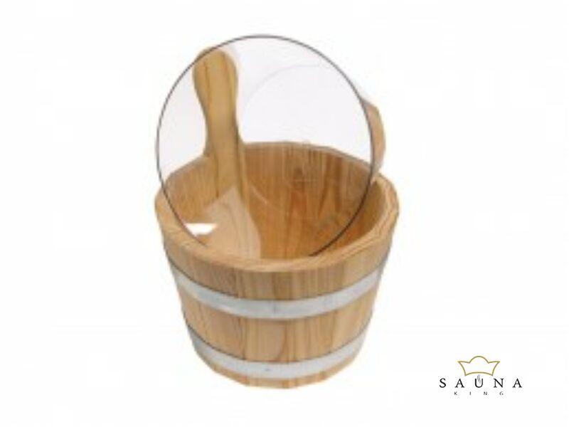 Saunakübel aus Lärchenholz, natur, mit klarem Kunststoffeinsatz, 5L
