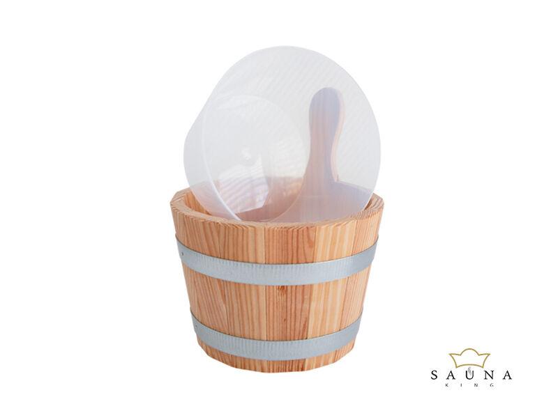 Sauna-Kübel Lärche Natur, mit Kunststoff-Einsatz, milchig, 5L