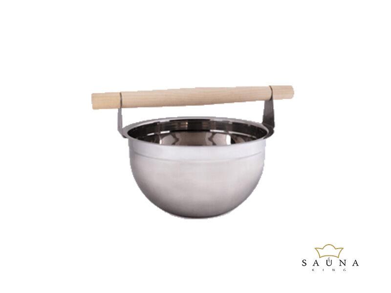 Saunakübel aus Edelstahl mit Nadelholz-Griff, 5L