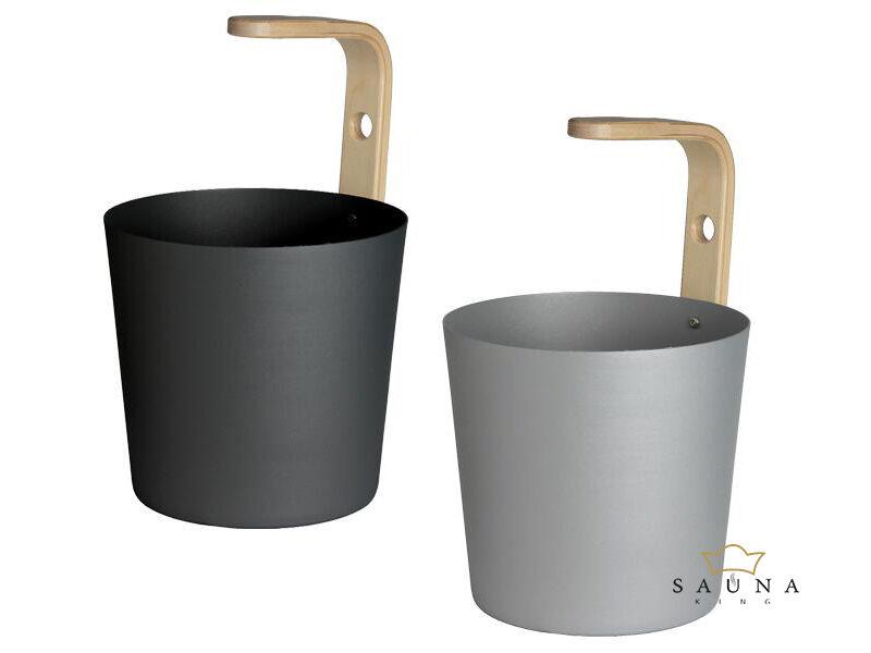 "Sauna-Eimer ""Earth"" aus Aluminium, grau oder schwarz"