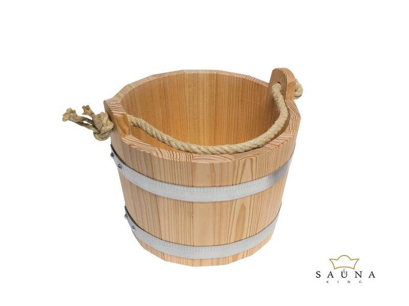 Saunakübel aus Lärchenholz, natur, mit Trageseil, 6,5L