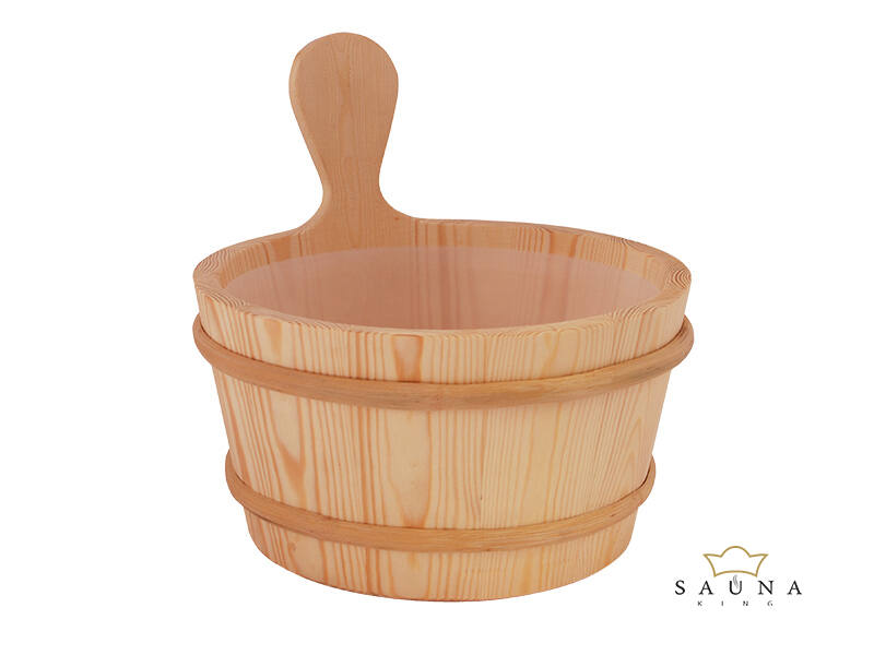 Saunakübel aus Nadelholz mit Kunststoffeinsatz, 3L