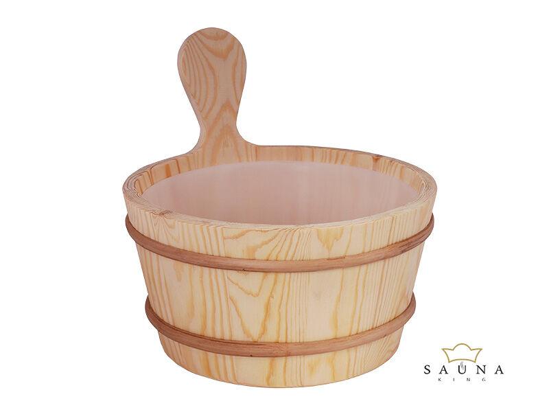 Saunakübel aus Nadelholz mit Kunststoffeinsatz, 4L
