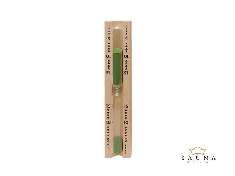 Sanduhr Spezial mit 15 Min. Laufzeit, Sandfarbe grün