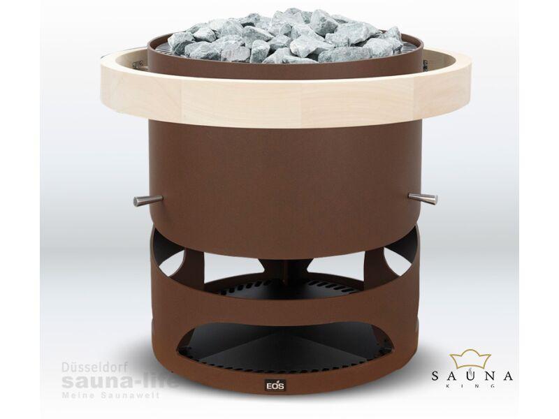 EOS Finnische Saunaofen Zeus S in Rostoptik (Alternativ: Anthrazit und schwarz matt), 6kW-12kW