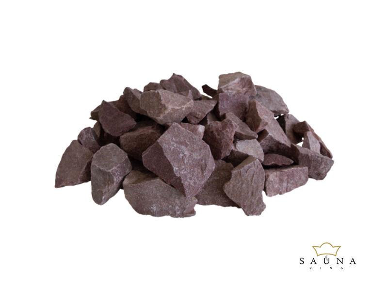 Saunasteine, himbeerfarber Quarzit, 20kg (50-90mm)