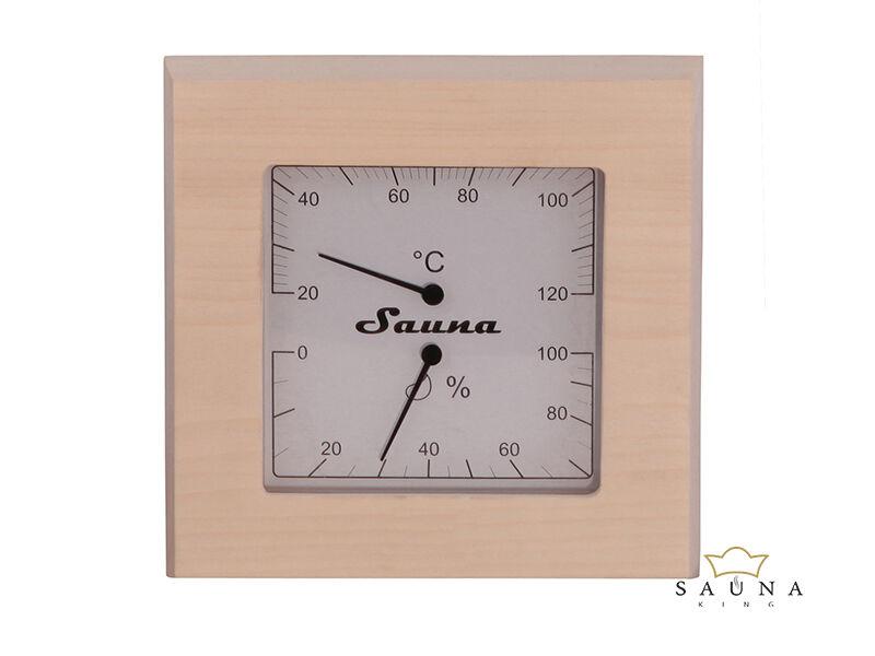 Thermo-Hygrometer  Quadrat aus Espenholz
