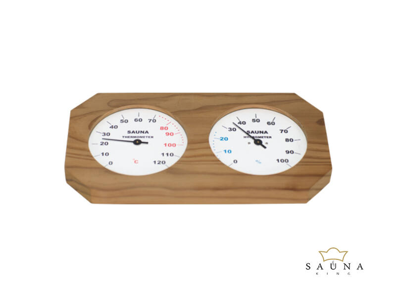 Thermo- und Hygrometer in Naturholz Rahme, dunkel