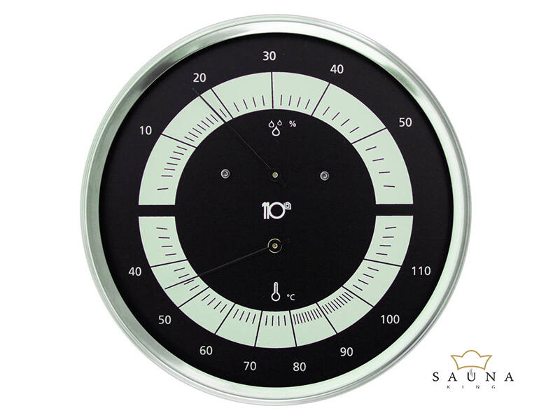 Thermo-Hygrometer Edelstahl, schwarz
