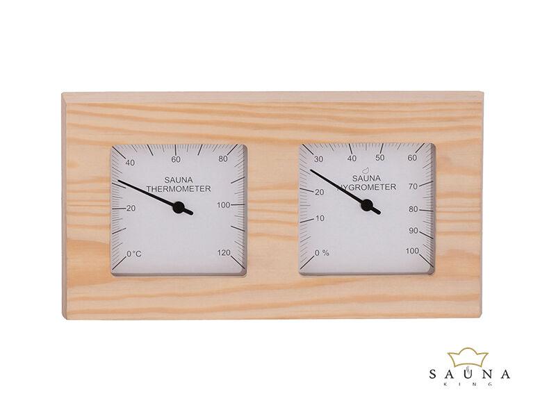 Hőmérő és páramérő nyárfából