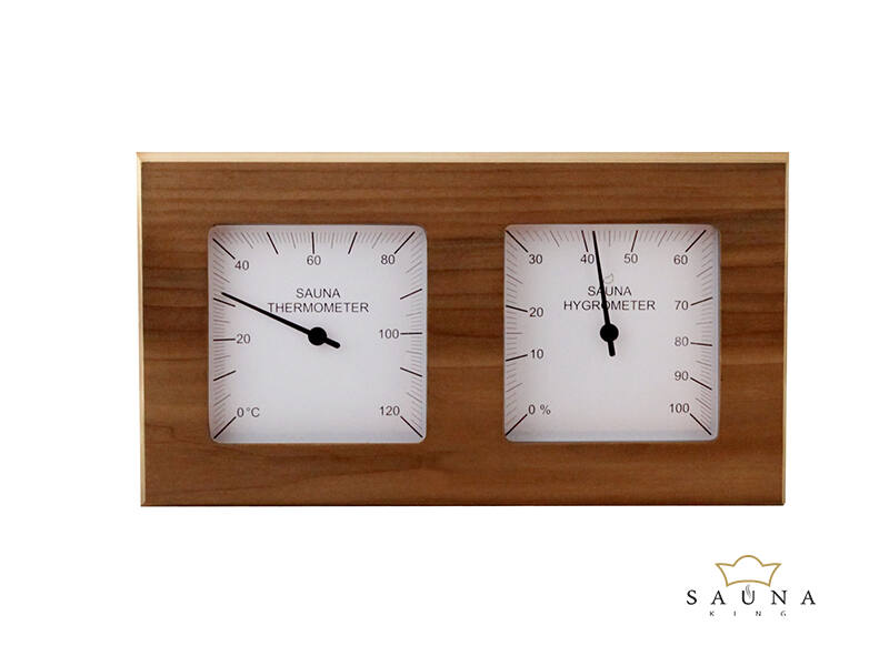 Thermo-Hygrometer  Quadrat, aus rotem Zedernholz, geteilt