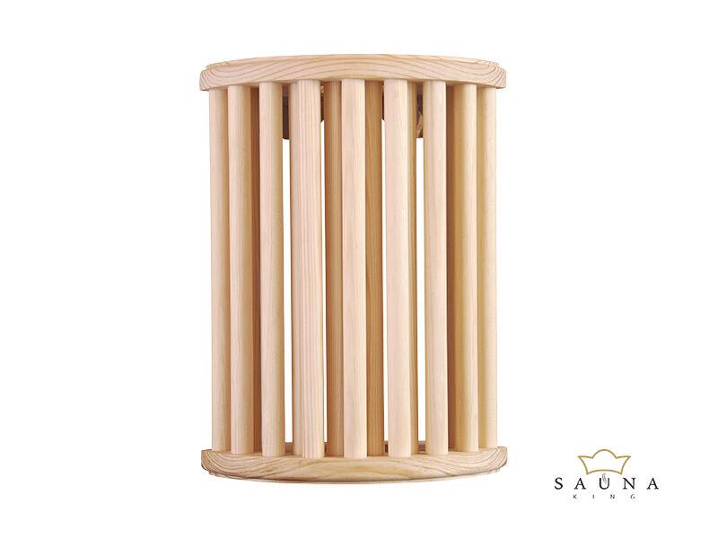 Lampenschirm aus hellem Holz, auch für Eckeinbau