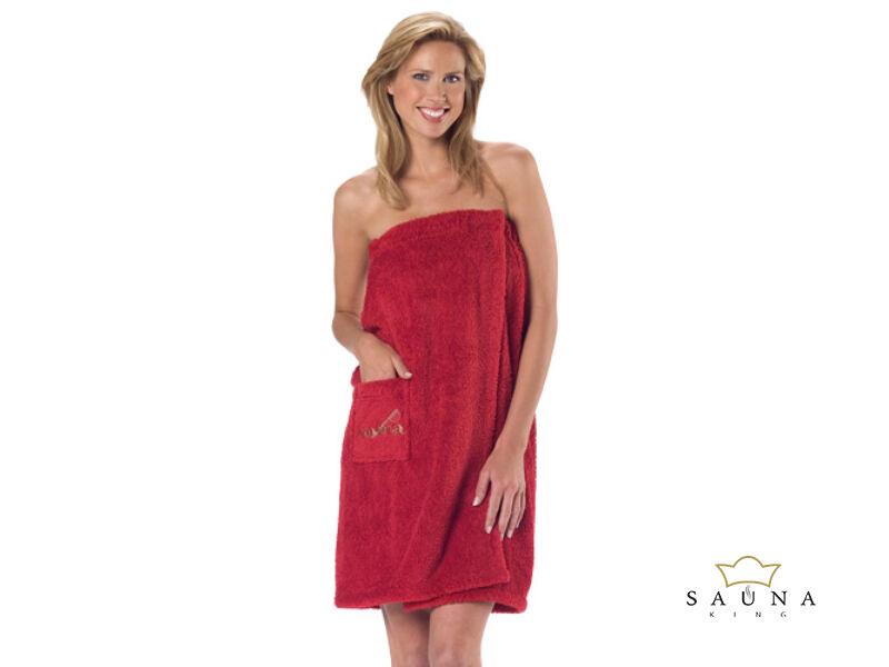 Damen Sauna-Kilt Teddy-Plüsch, Rot