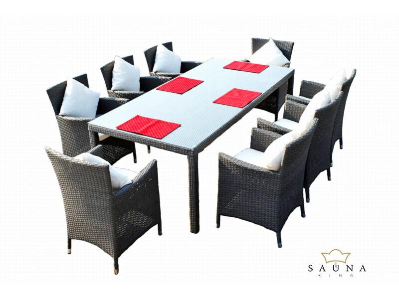 Bello Giardino kerti műrattan étkező szett matt szürke színben, 8 székkel, GUSTOSO GRANDE