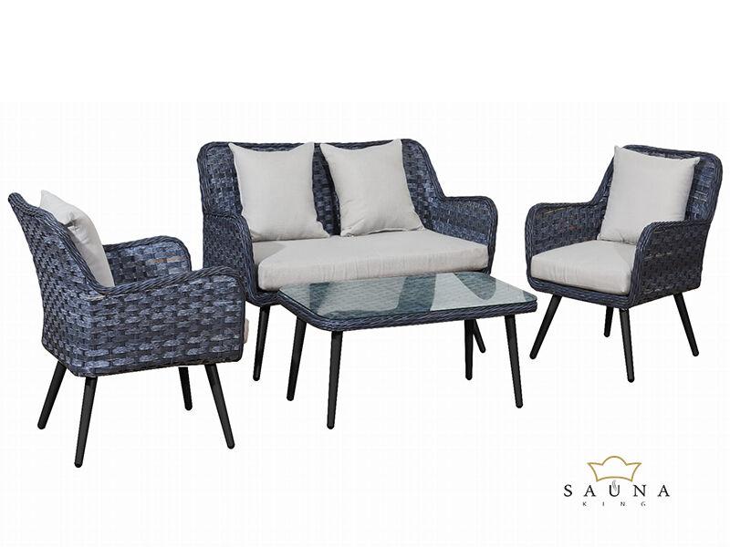 Bello Giardino Loungegruppe aus Polyrattan in grau melange, MODESTO