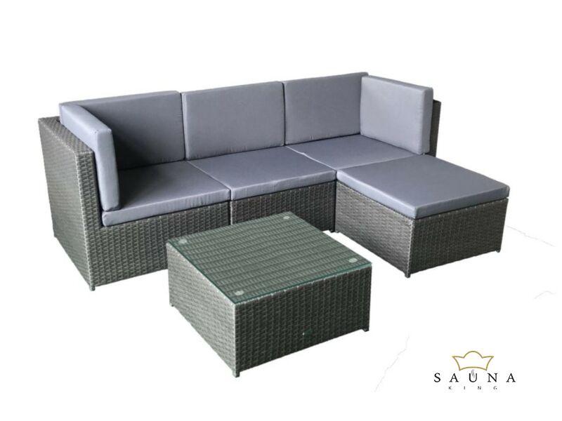Bello Giardino Loungegruppe aus Polyrattan in matt grau, TINTO